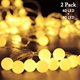 Vmanoo String Lights Battery Powered, 40 LED Globe Fairy String Lights, Outdoor Indoor Decor Lighting for Christmas Garden Path Patio Lawn Holiday Wedding Party, 2-PACK (Warm White)