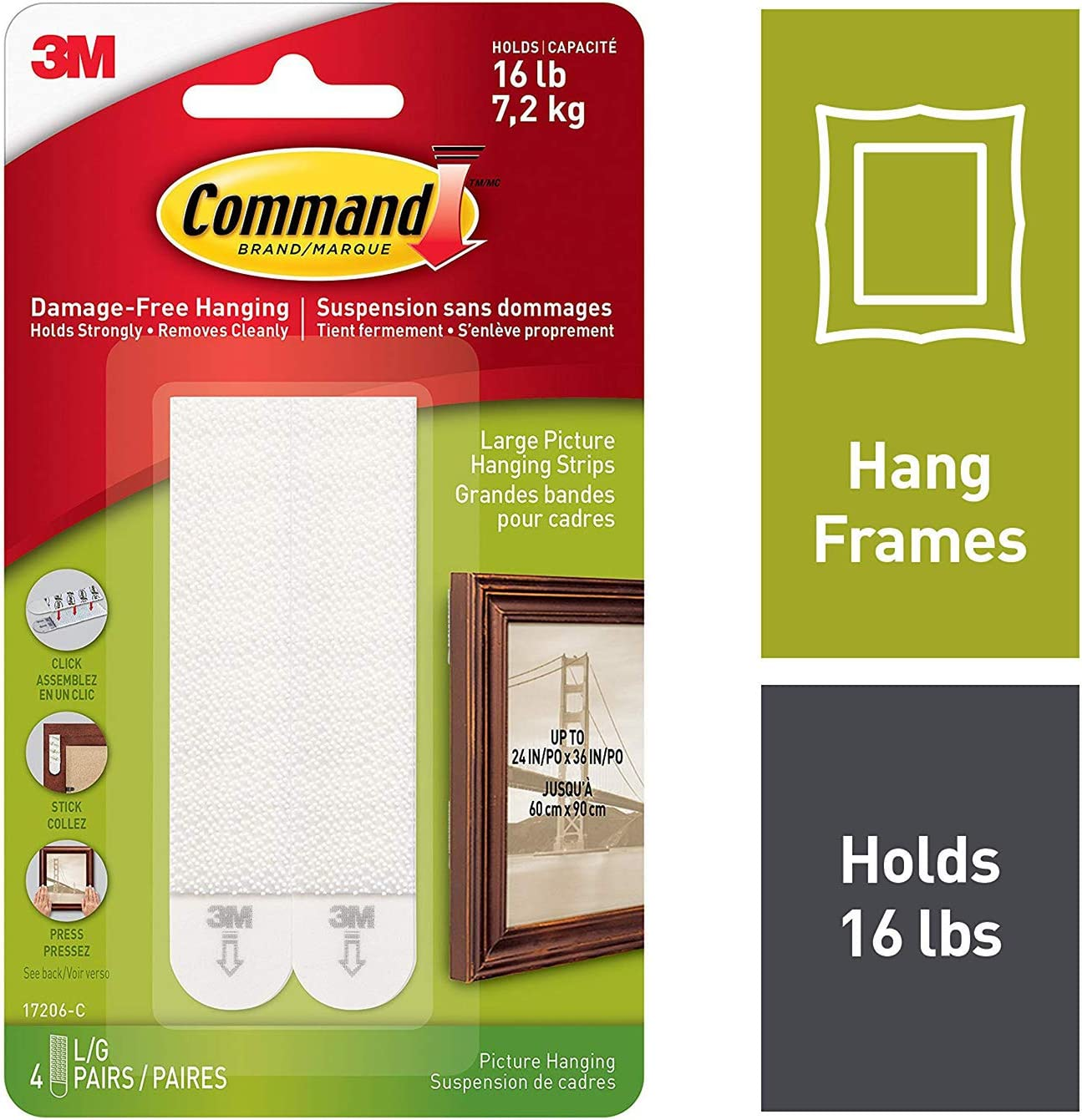 Black 4-Pairs Case of 24 Command Picture Hanging Strips Large