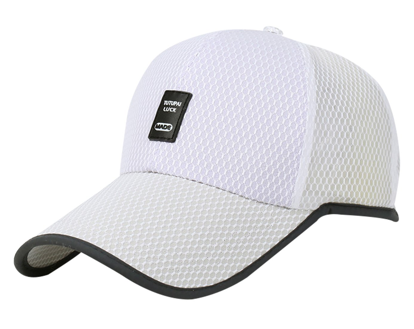 Panegy Sports Hats Adjustable Snapback Onesize Fit Runner Hats Breathable Lightweight Cap White