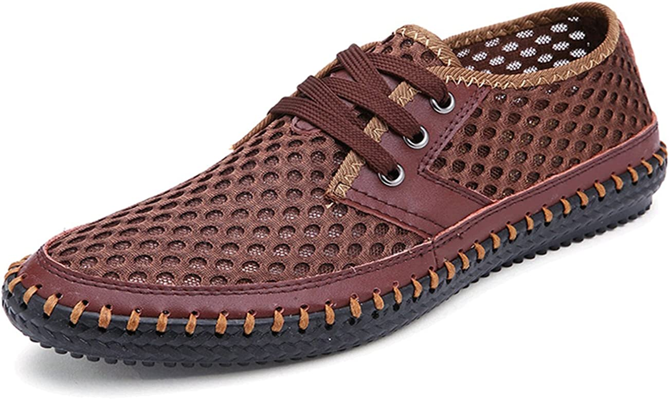 K3K 2016 New Mens Summer PU Leather Handmade Shoes Mesh Upper
