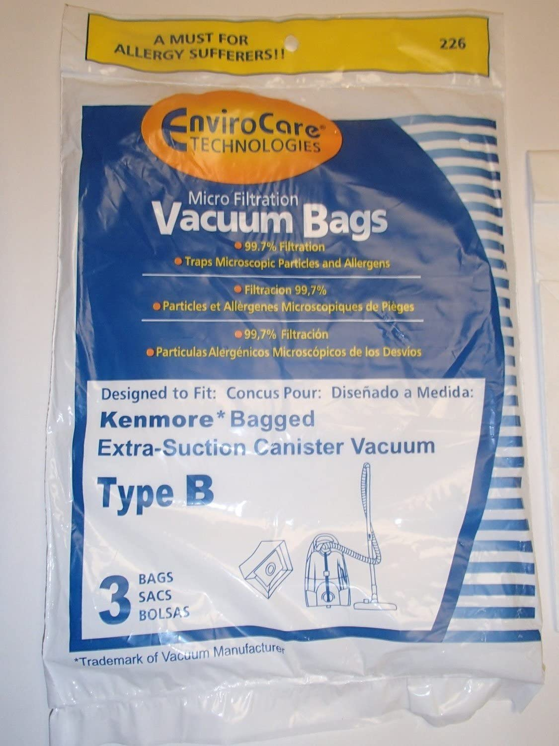 EnviroCare Replacement Micro Filtration Vacuum Bags for Kenmore Type B Galaxy Bagged Canister Models 3 Pack