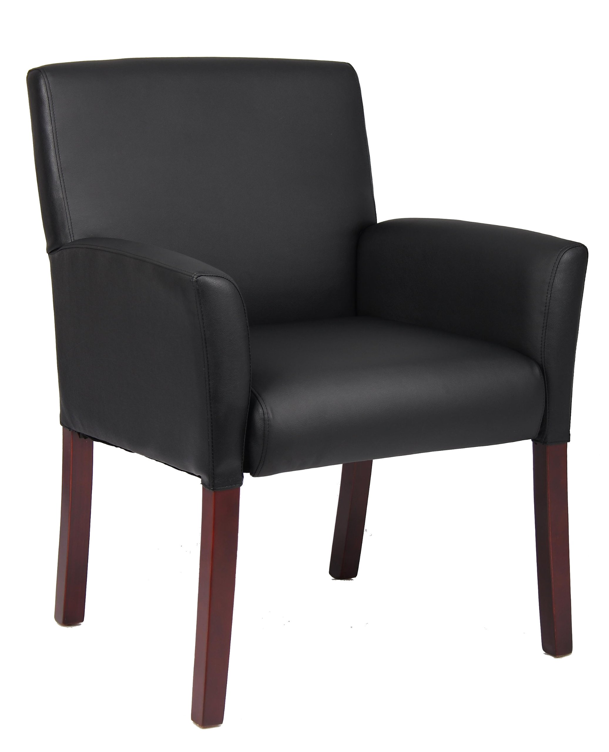 Boss Office Products Box Arm Guest Chair with Mahogany Finish in Black by Boss Office Products