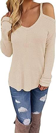 CNFIO Jersey Punto Mujer Invierno Cuello Redondo Mujer Camiseta Manga Larga Pull-Over Suéter Mujer Suelto Jerseys Primavera Casual Sudadera