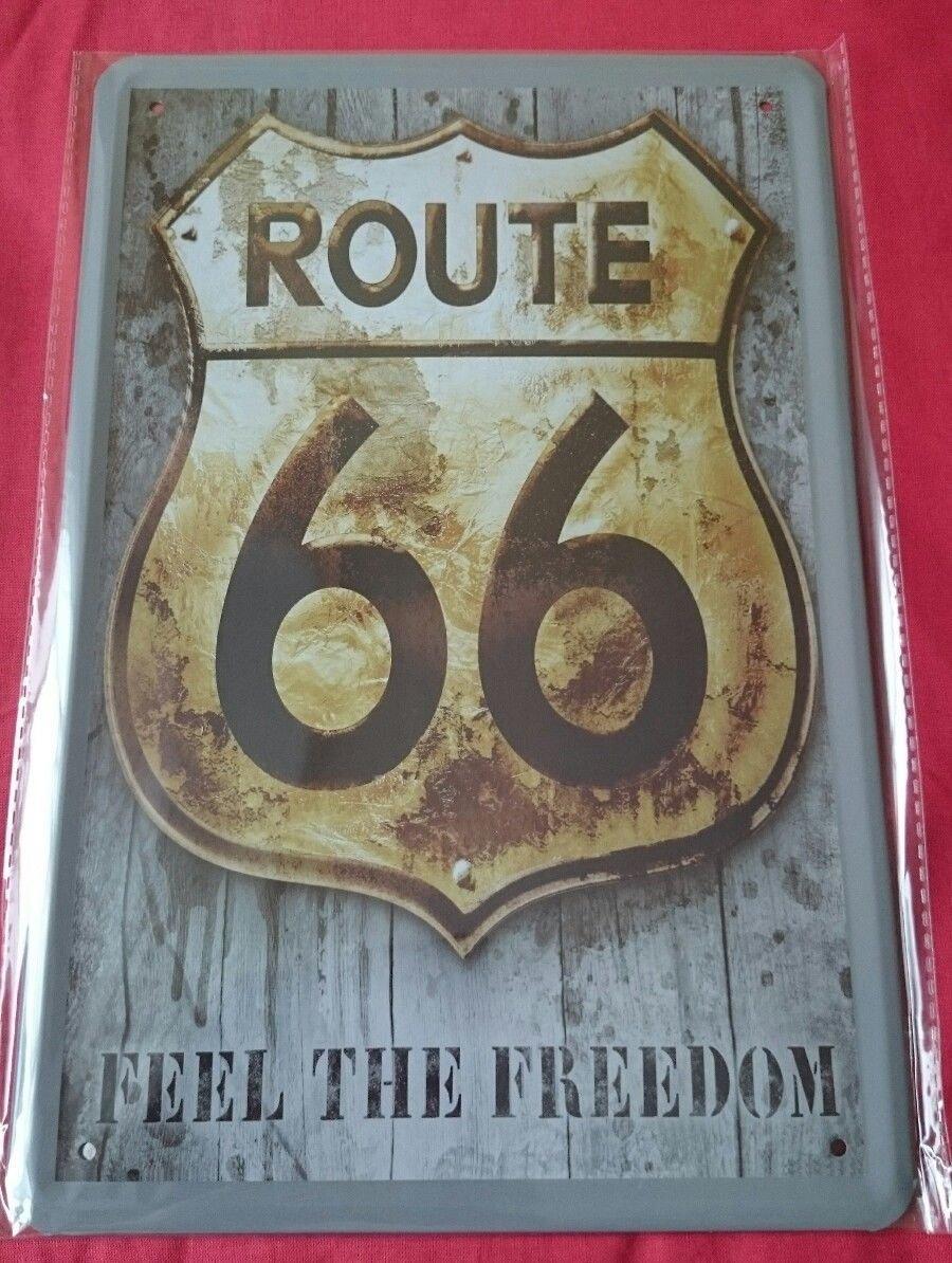 Unbekannt Cartel de Chapa 20 x 30 cm Route 66 Feel The ...