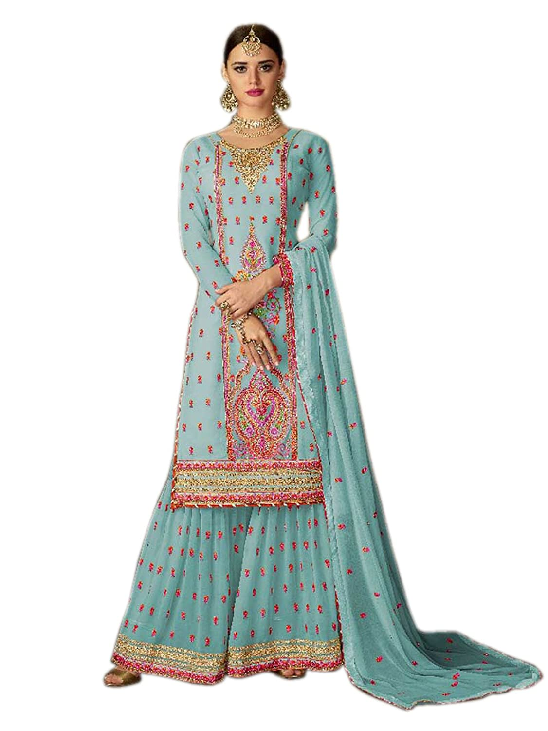 Buy Shoppingover New Collection Party Wear Designer Salwar Kameez For Women Punjabi Suit Blue Color At Amazon In