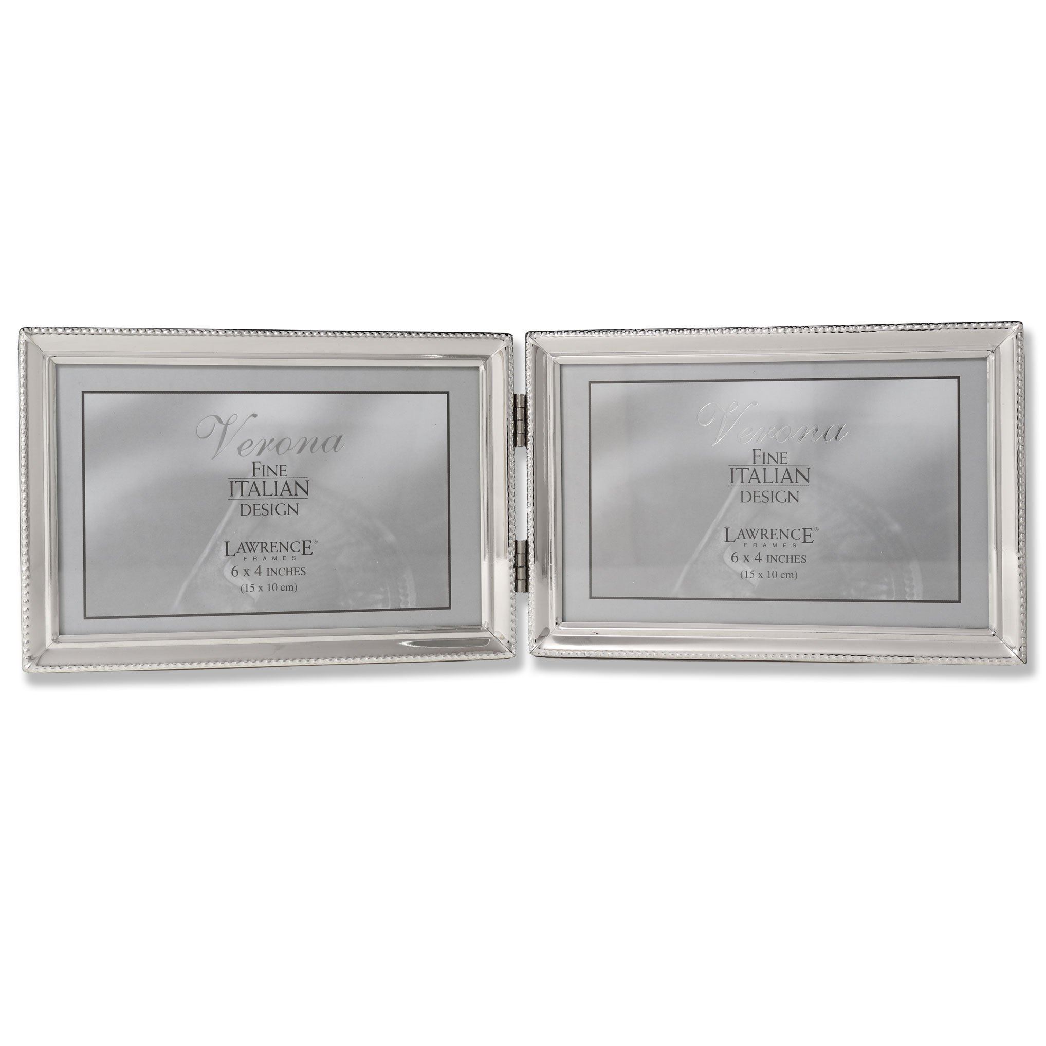 Lawrence Frames Polished Silver Plate 4x6 Hinged Double Horizontal Picture Frame - Bead Border Design