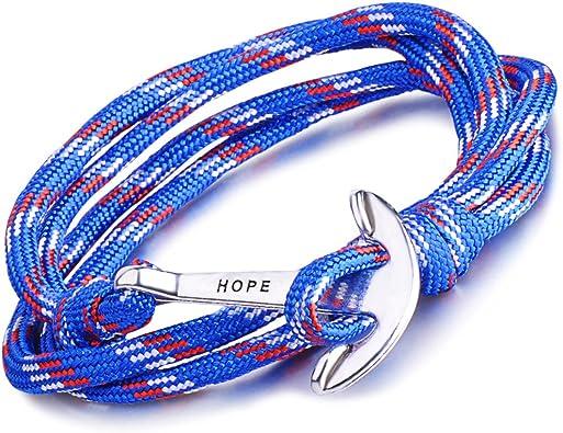 Unendlich U Hope braccialetto intrecciato in corda di nylon con ciondolo a forma di ancora multistrato confezione da 1 o da 5