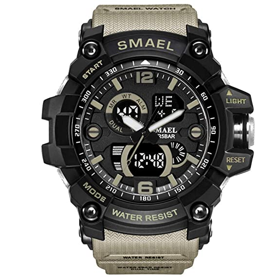 Beydodo Reloj Impermeable Relojes Electronicos Reloj Hombre Relojes Unisex Reloj Deportivo Reloj Multifunción Caqui: Amazon.es: Relojes