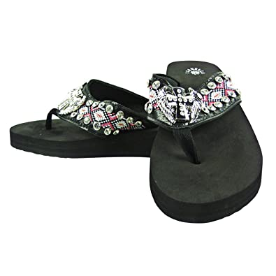 31743a45d977 Isabella Aztec Angel Wings Rhinestone Flip Flops Sandals Pink Black (7 8)
