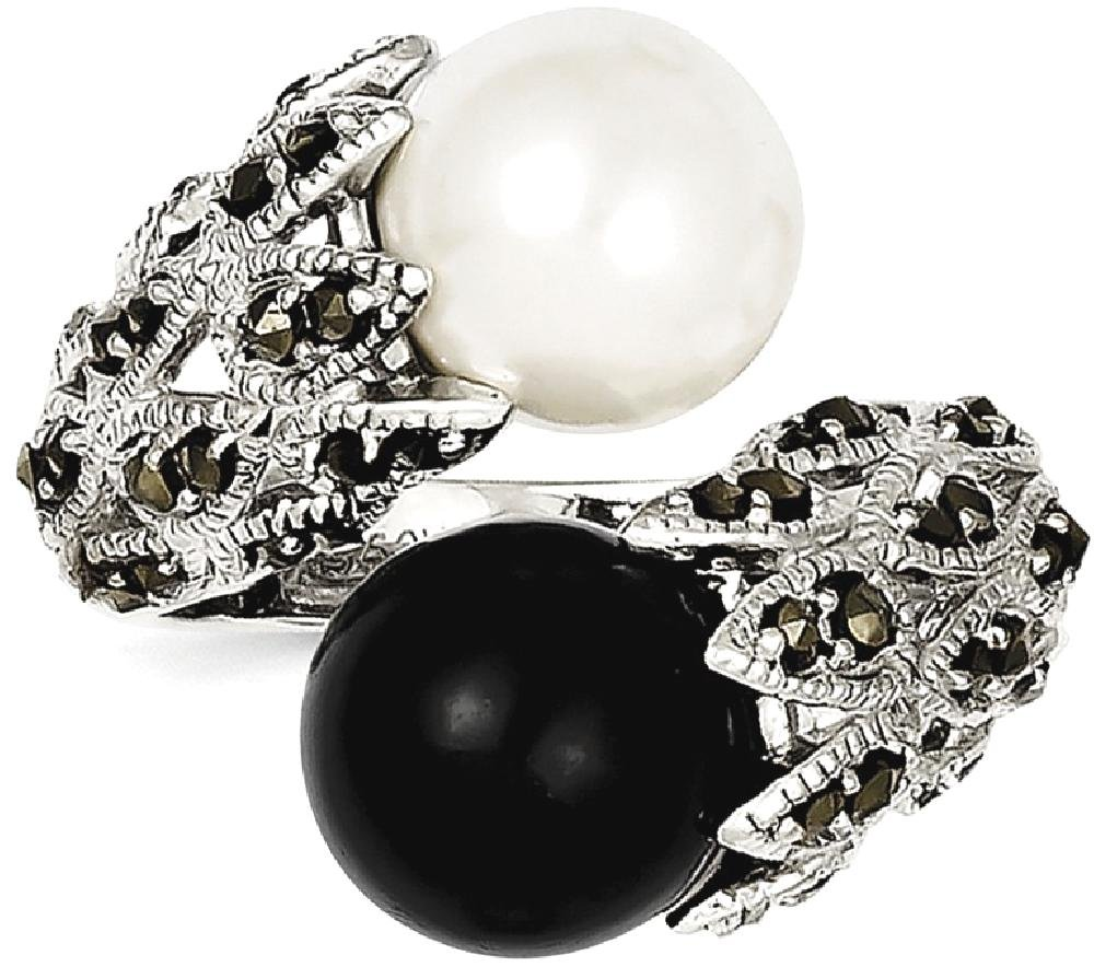ICE CARATS 925 Sterling Silver Marcasite Black White Freshwater Cultured Pearl Band Ring Size 8.00 Fine Jewelry Ideal Gifts For Women Gift Set From Heart by ICE CARATS (Image #2)