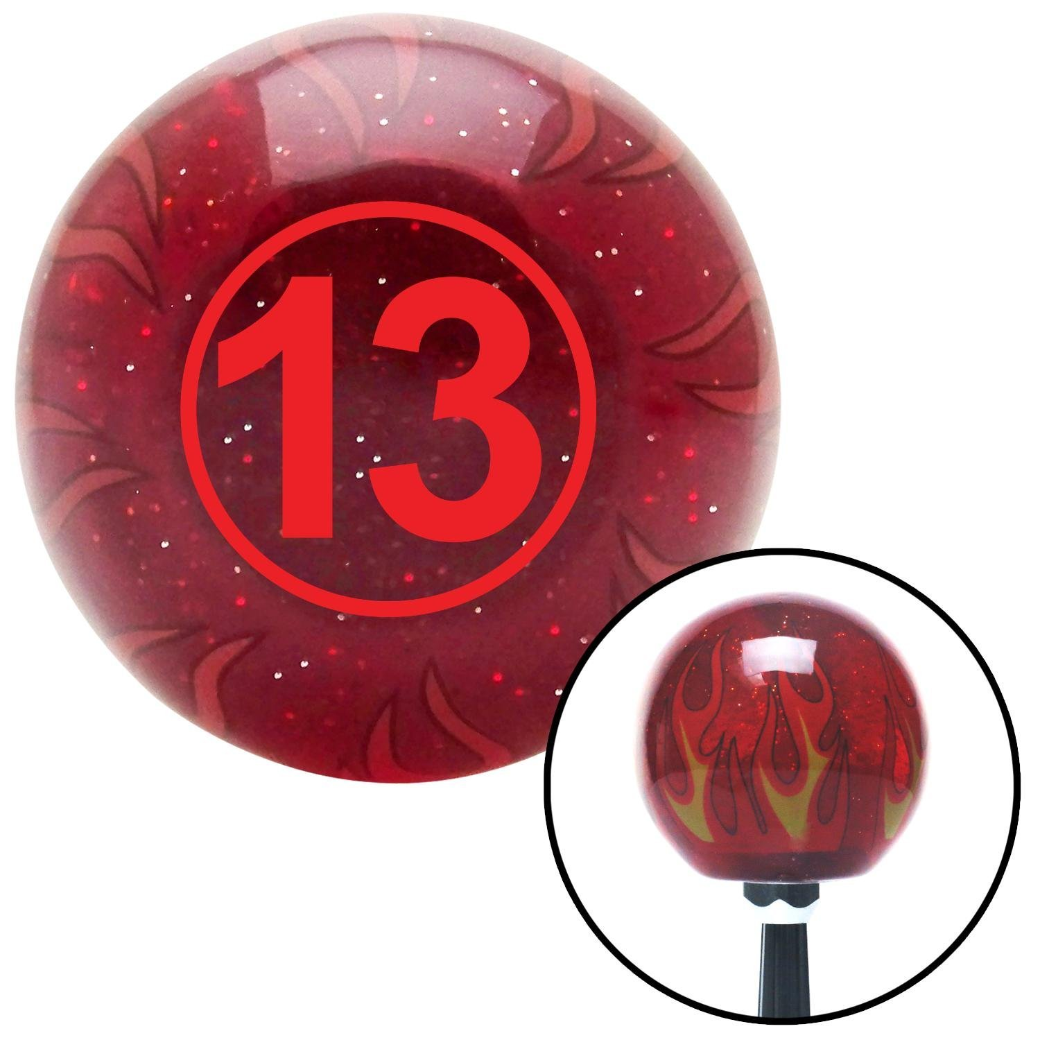 Red Ball #13 American Shifter 236336 Red Flame Metal Flake Shift Knob with M16 x 1.5 Insert