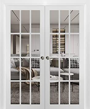 Kit Trims Rail Hardware Sliding French Double Pocket Doors 56 x 80 inches Frosted Glass 12 Lites Solid Wood Interior Bedroom Sturdy Doors Felicia 3312 Matte White