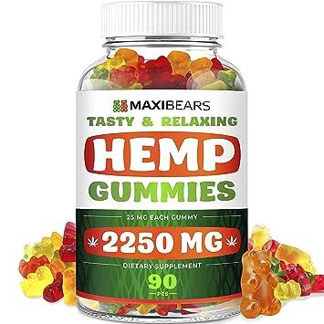 Maxibears Hemp Gummies – 2250 MG, 90 pcs – 25 MG Gummy Bear – Yummy Tasting  & Relaxing –