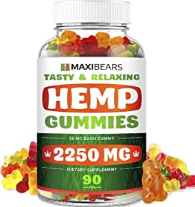 Maxibears Hemp Gummies – 2250 MG, 90 pcs – 25 MG Gummy Bear – Yummy Tasting & Relaxing – Made in The USA – Relief for Stress, Pain, Sleep, Anxiety – Vitamin E &Vitamin B & Omega 3, 6, 9