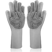 LHome Magic estropajo de silicona para lavar platos, 2 en 1, guantes de goma reutilizables, herramienta de cocina resistente al calor para el hogar, lavar platos, gris