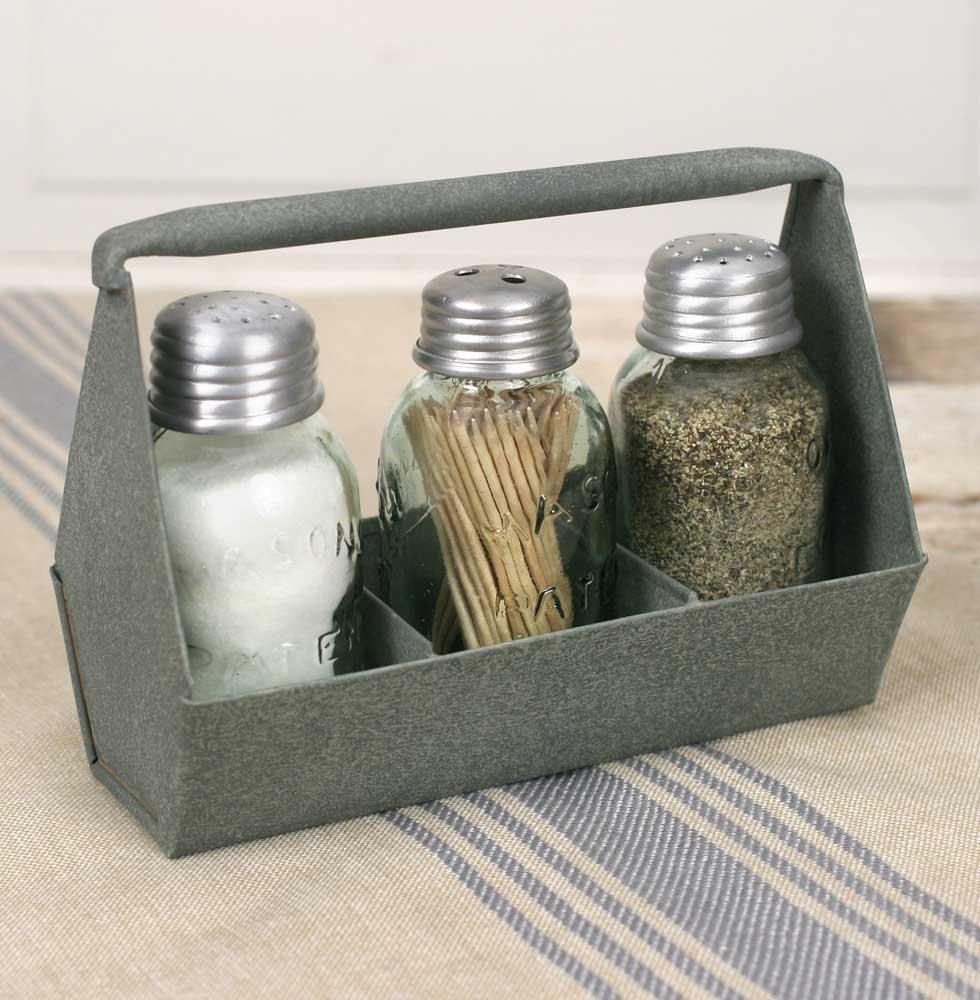 Salt and Pepper Shakers in Galvanized Tin Holder