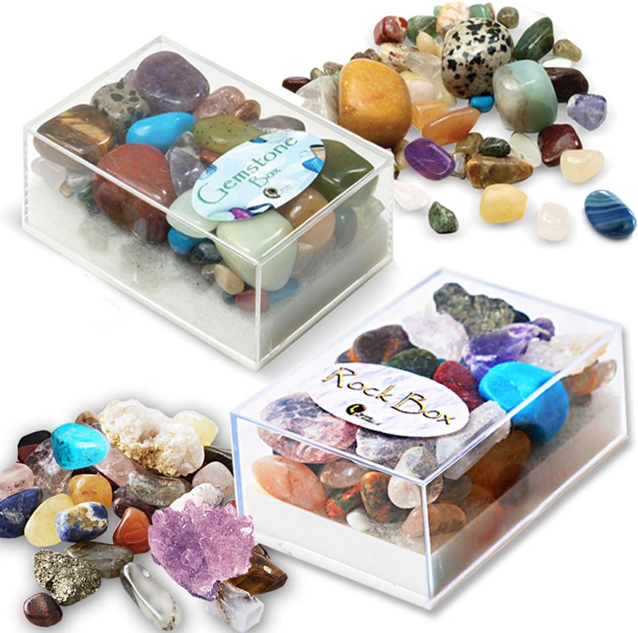 2 Cajas de Piedras Preciosas y Roca de Tienda de Regalos Fossil