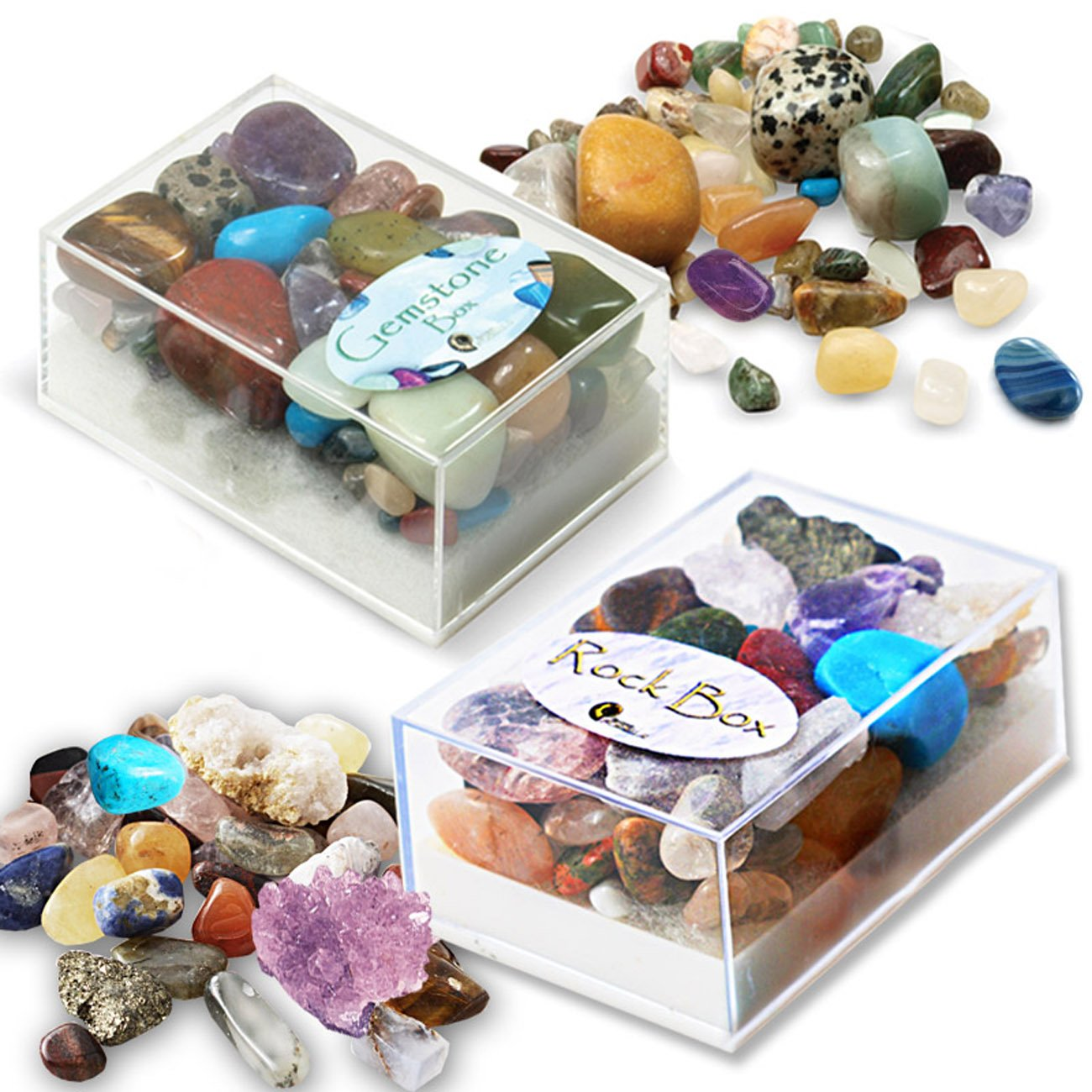 Gemstone and Rock Box Collection. Set of 2 Boxes