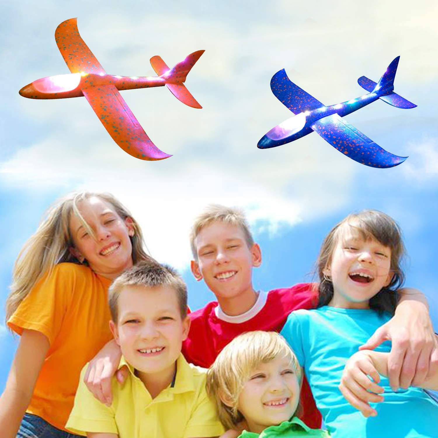 Airplane Toy for Kids, 3 Pack 13.5'' LED Light Up Throwing Foam Airplane Flying Aircraft Plane DIY Glider Aeroplane Model Jet Kit Flying Toys for Boys Girls Teens, Outdoor Sport Game Toys Party Favors by GreaSmart (Image #6)
