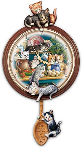 The Bradford Exchange Kitchen Capers Cat Art Decorative Wall Clock Gift Idea