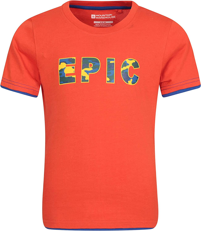 Mountain Warehouse Epic Camiseta Infantil - 100% de algodón para niños y niñas, Ligera, Transpirable, con Ribetes de Color de Contraste - para Viajar, Acampar: Amazon.es: Ropa y accesorios