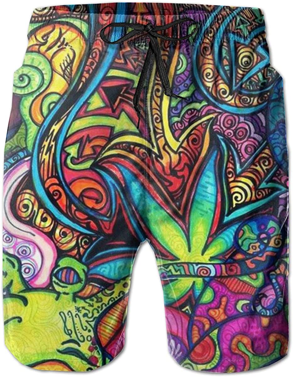 ZORITO Mens Swim Trunks Quick Dry Summer Holiday Beach Shorts with Mesh Lining Colorful Abstract Beachwear