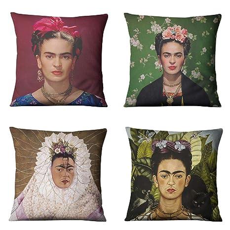 WMWZ Funda de cojín Frida Kahlo Pintura Al Óleo Funda de ...
