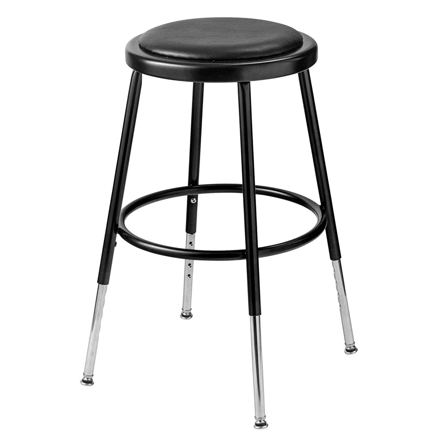 National Public Seating Height Adjustable Stool with Footring Size 32.5 H, Finish Black