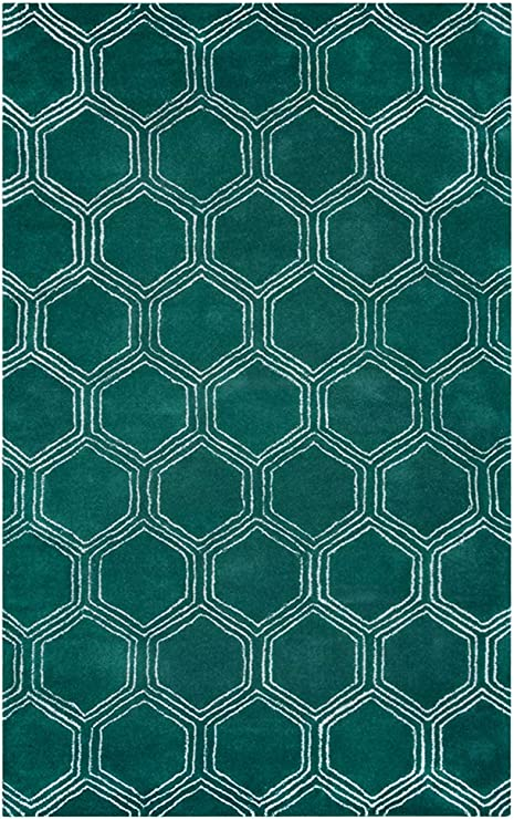 Amazon Com Rizzy Home Gillespie Avenue Collection Wool Viscose Area Rug 9 X 12 Green Gray Rust Blue Geometric Home Kitchen