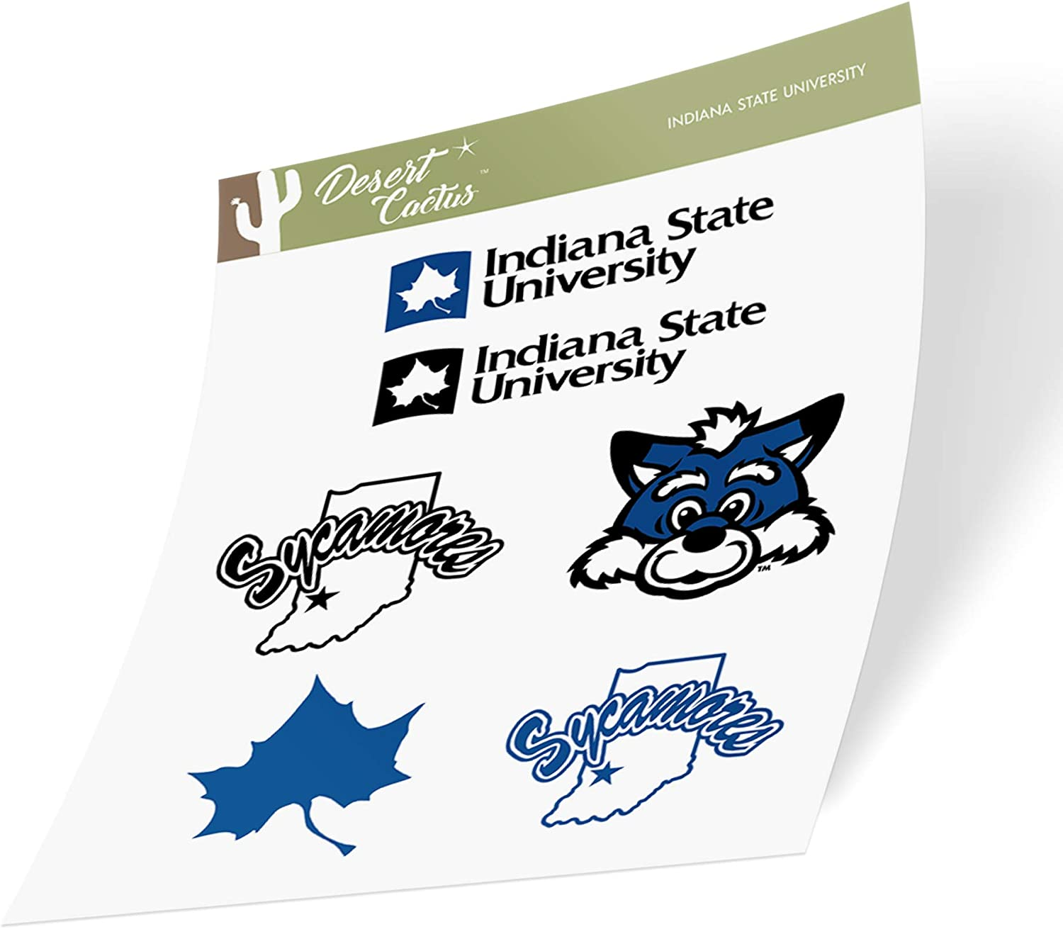 Indiana State University ISU Sycamores NCAA Sticker Vinyl Decal Laptop Water Bottle Car Scrapbook (Type 2 Sheet)