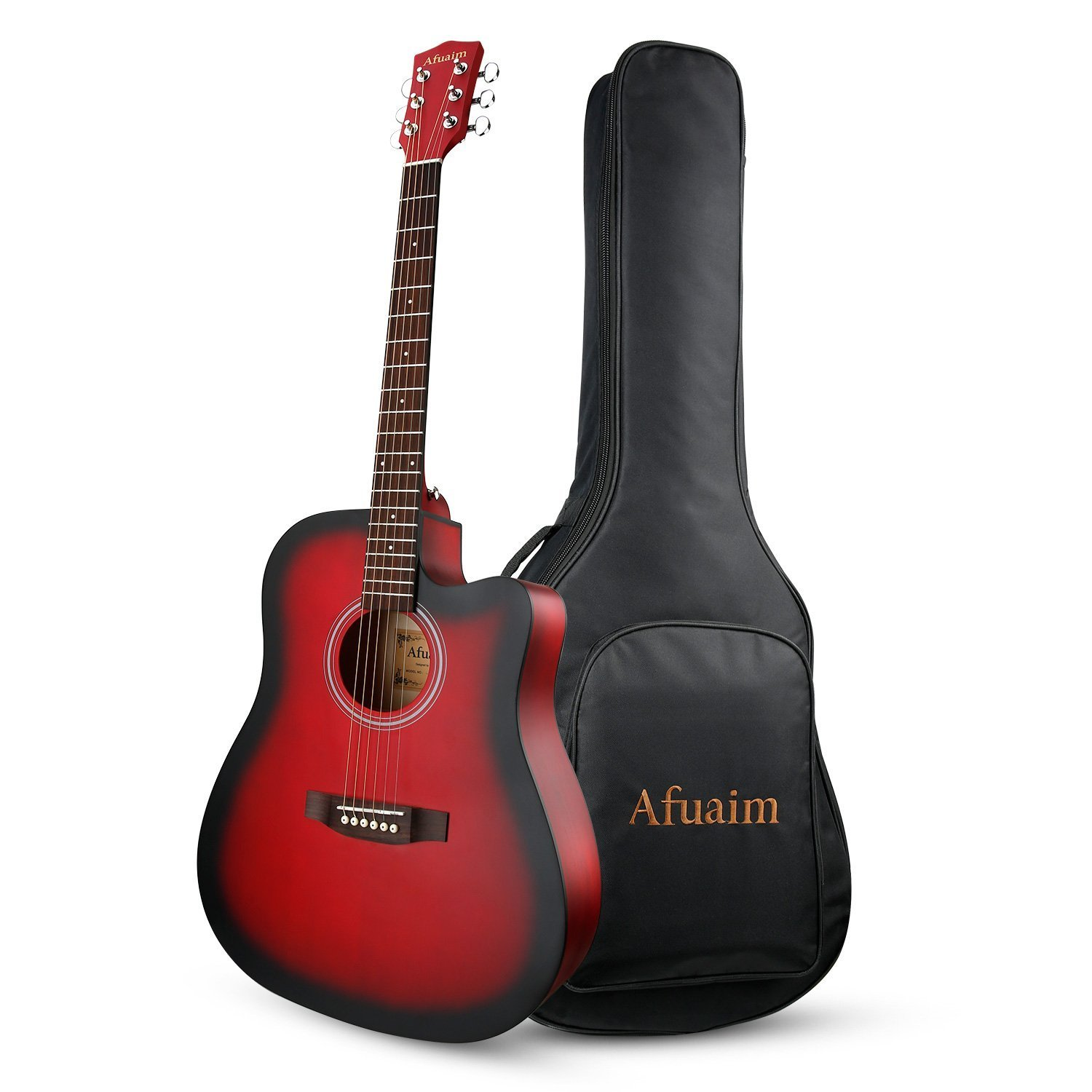 Guitar Acoustic 41 Inch Spruce Steel String Guitar Pack with Gig Bag (Red-Cutaway) By Afuaim AGS-2C