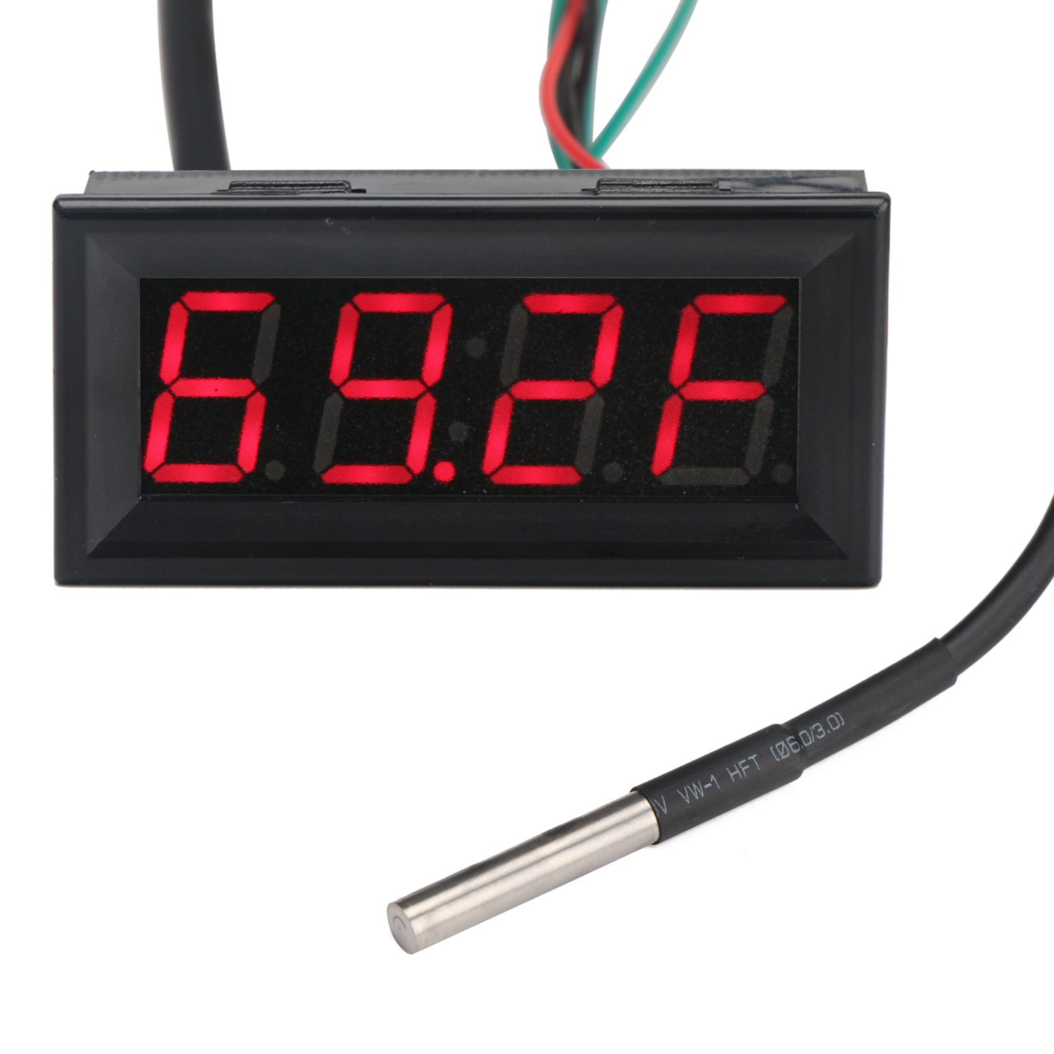 Drok Fahrenheit Scale 056 Dc 12v Digital Car Clock Thermometer Wiring Diagram Voltmeter 3in1 Red Led Auto Gauges Ds18b20 Probe Voltage Testers Industrial
