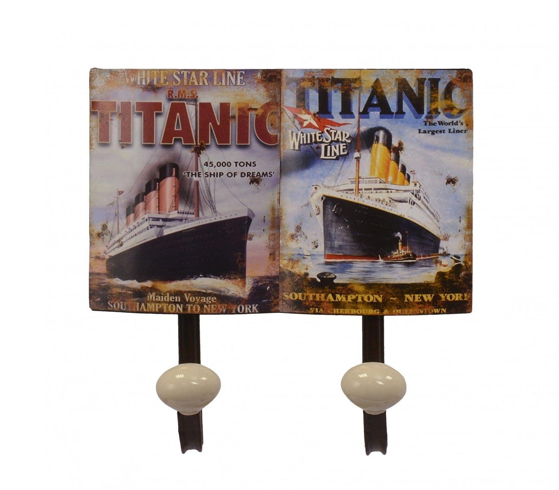 Cartel de hierro del Titanic Barco 2 ganchos pared toallero ...