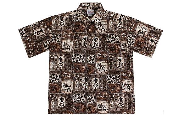 d8f5cbe7 Wave Shoppe Men's Brown Tapa Hawaiian Shirts at Amazon Men's ...