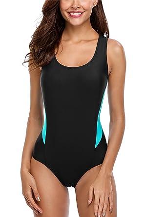 014fa5b792b1c ALove Sport Swimsuit for Womens Racerback Color Block Swimwear Black Small
