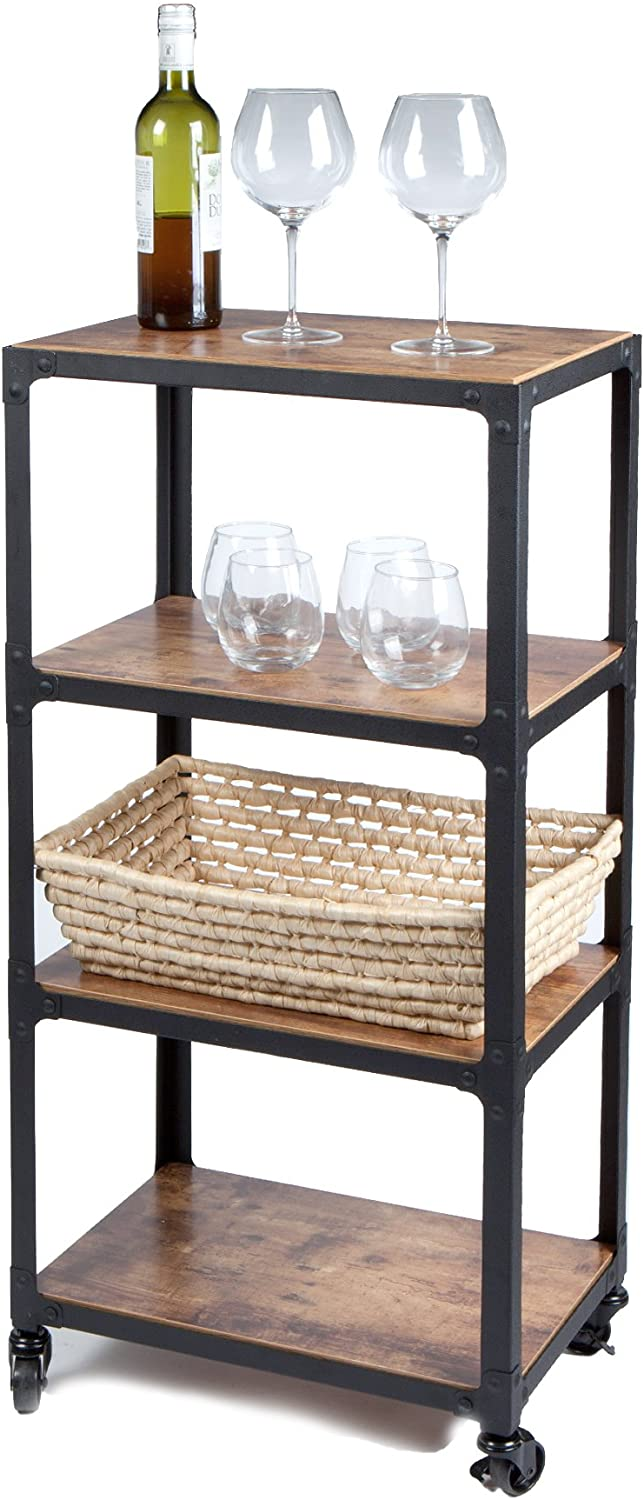 Mind Reader 4 Tier All Purpose Utility Cart, Wood/Metal, Black/Brown: Home & Kitchen
