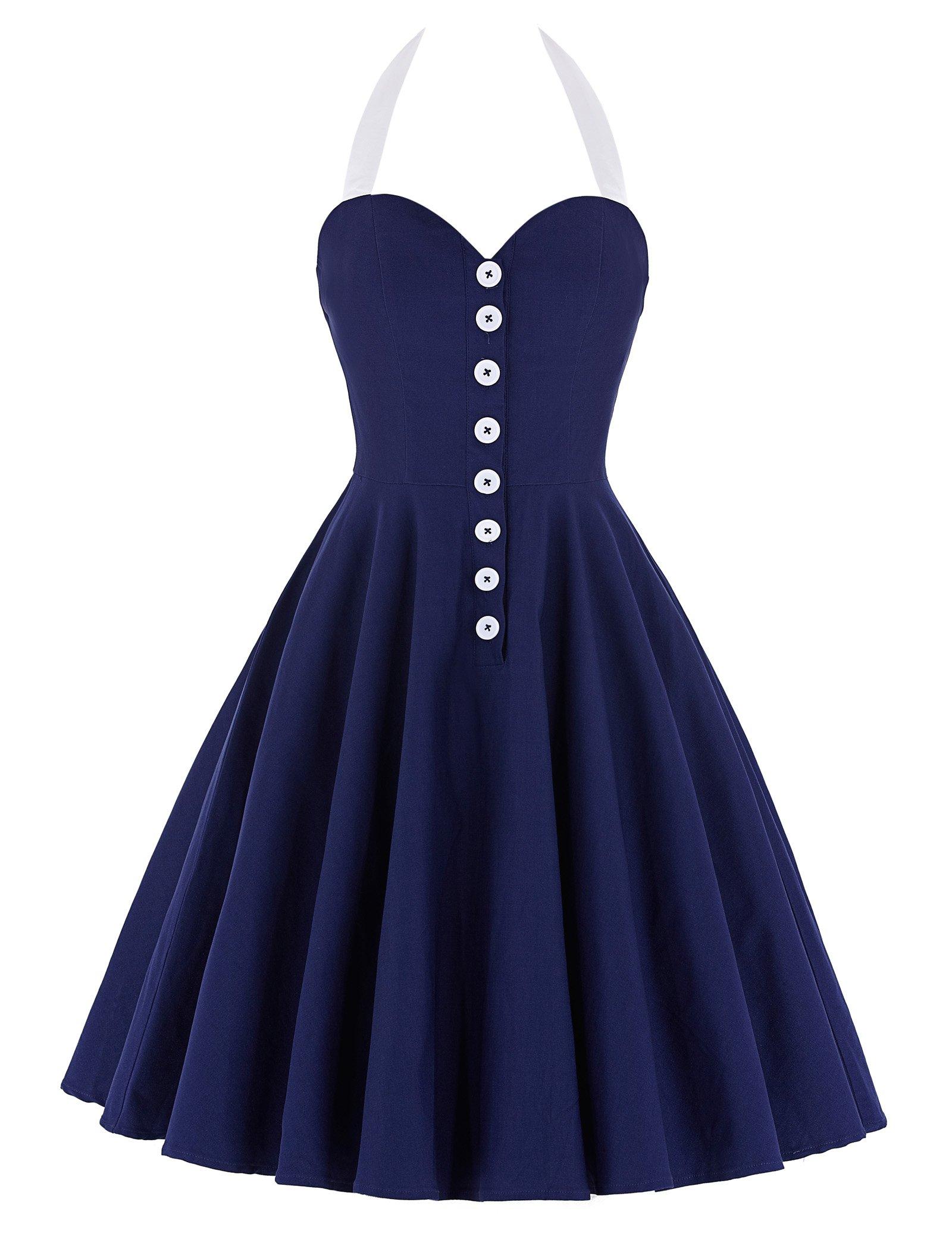 896946b4bc7 Yafex Belle Poque® Femme Rockabilly Robe Rétro Vintage Audrey à Col V sans  Manche product
