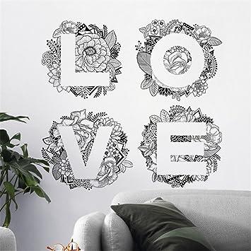 Stickers Muraux Fleurs D Art Amour Stickers Muraux Dessin Romantique