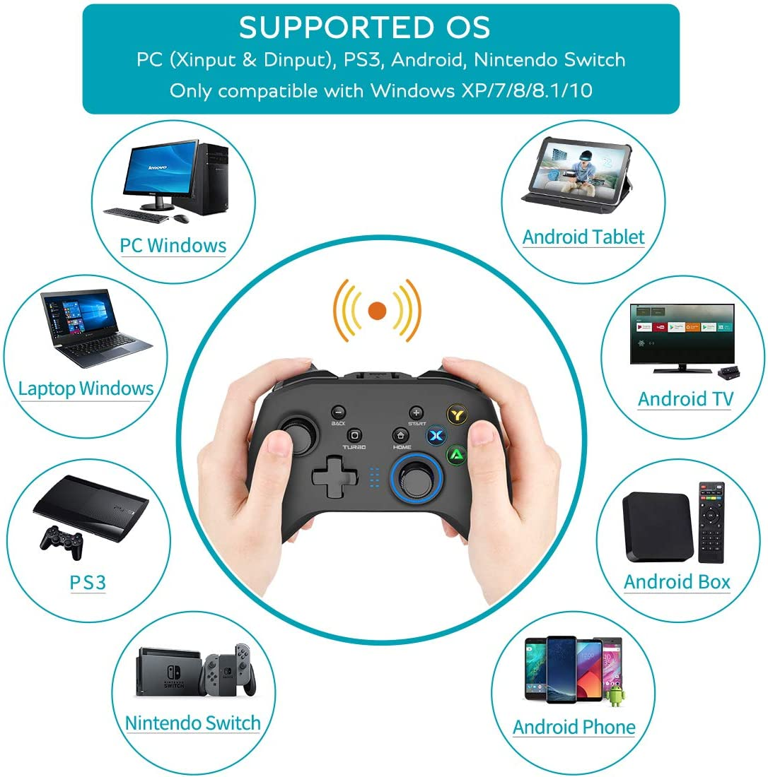 Wireless Gaming Controller, Dual-Vibration Joystick Gamepad Computer Game Controller for PC Windows 7/8/10, PS3,/Switch/TV Box/Laptop/Android Mobile Phones - Black: Computers & Accessories