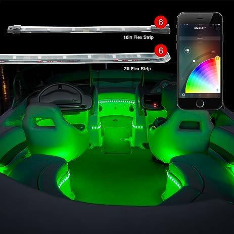 6pc 36u0026quot; + 6pc 10u0026quot; Strips Boat Marine Interior Accent Lighting  XKchrome App Control