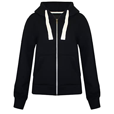 Womens Plain Hoodie Hooded Zip Zipper Top Sweat Shirt Jacket ...