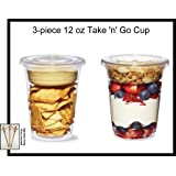 Pack of 25 Clear Plastic Parfait Cup 12 oz with Insert and Flat Lid w/ FDL Party Picks
