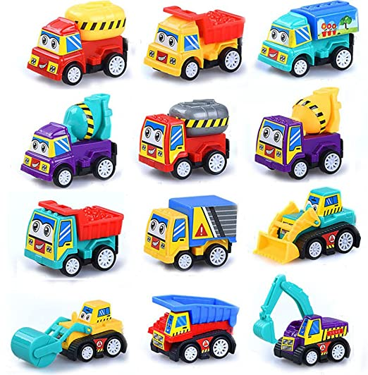 Review M-jump Pull Back Vehicles ,12 Pack Assorted Construction Vehicles Toy, Die Cast Vehicles Truck Mini Car Toy For Kids Toddlers Boys,Pull Back and Go Car Toy Play Set