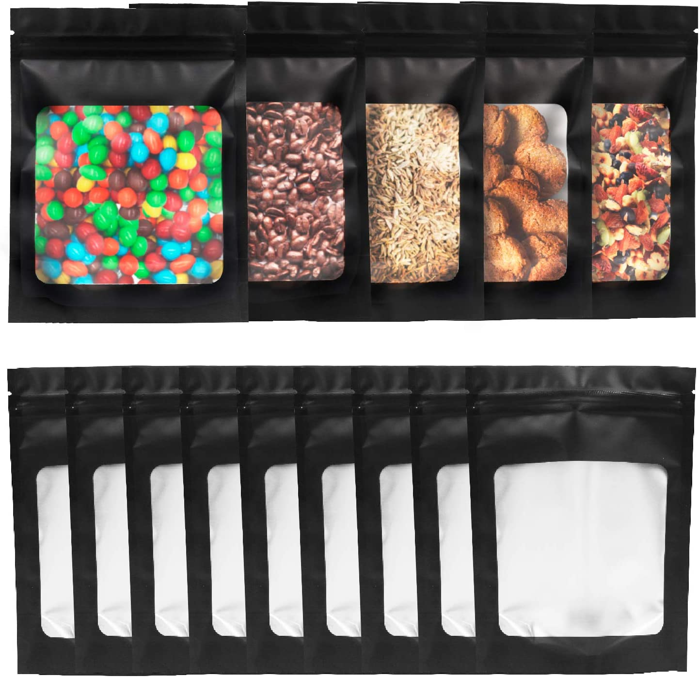100 Pieces Resealable Black Mylar Bags 4.7 x 6 Inch Smell Proof Bags with Clear Window for Food Self Sealing Storage Supplies