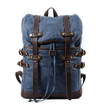 Amazon.com  Canvas Leather Backpack Hiking Daypacks Computers Laptop  Backpacks Unisex Casual Rucksack Satchel Bookbag Mountaineering Bag for Men  Women-Blue  ... fa7145900e58f