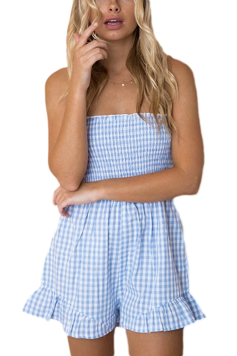 Simgahuva Women Casual Rompers Plaid Wide Leg Jumpsuit Shorts CAKJRMC284