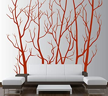 d50a10a0bc0 Image Unavailable. Image not available for. Color  Large Wall Vinyl Tree  Forest Decal Removable Sticker with Birds ...