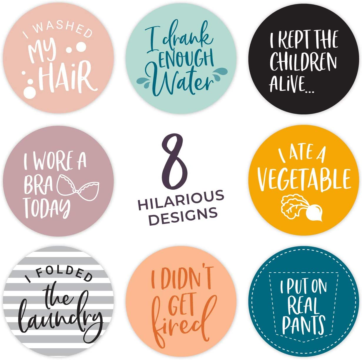 Adulting Stickers - 2 Inch Circle Labels / 250 per pack/Funny, snarky adult stickers