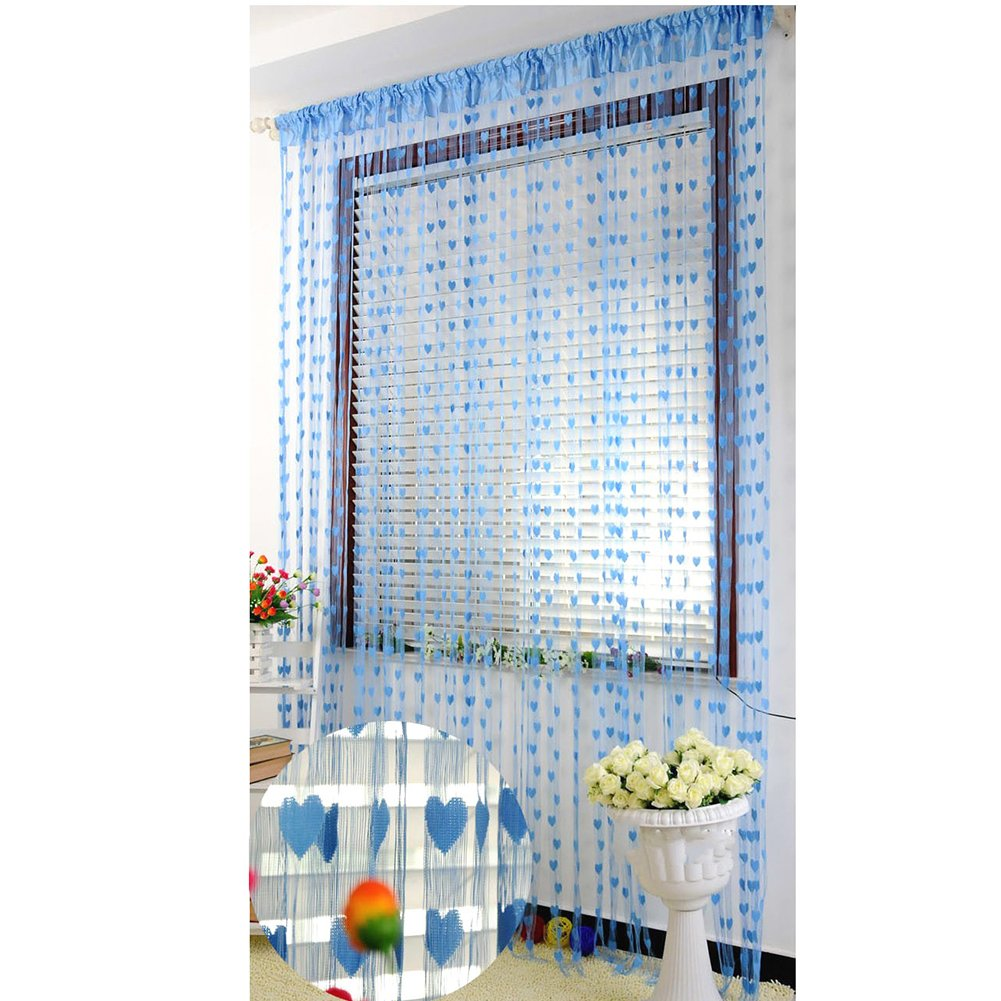 FAVOLOOK Line string tende cute Heart Tassel Window Room Curtain Home Decoration, Coffee, Taglia libera