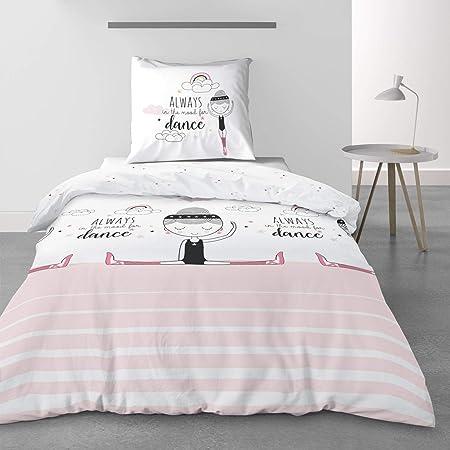 Parure de lit 100/% Coton 57 Fils Housse de Couette 140 x 200 cm Les Ateliers du Linge/® Parure de lit avec Housse de Couette Valentine Housse de Couette Enfant Parure de lit Enfant